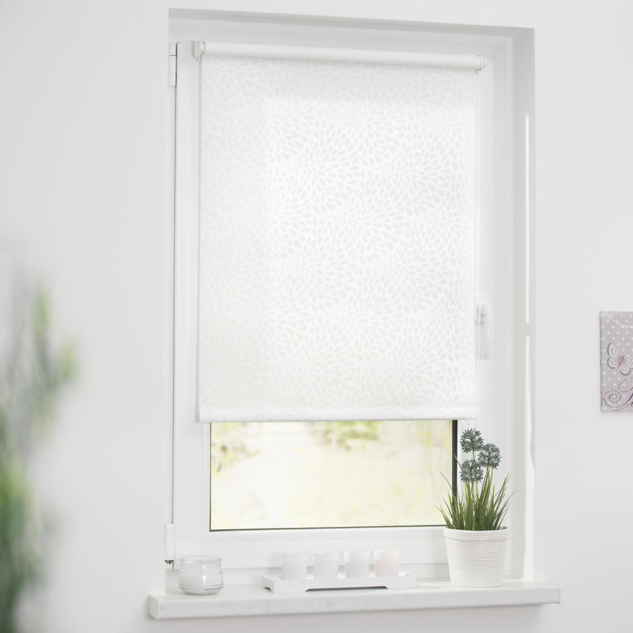 rollo klemmfix ohne bohren blickdicht drops wei transparent lichblick shop. Black Bedroom Furniture Sets. Home Design Ideas