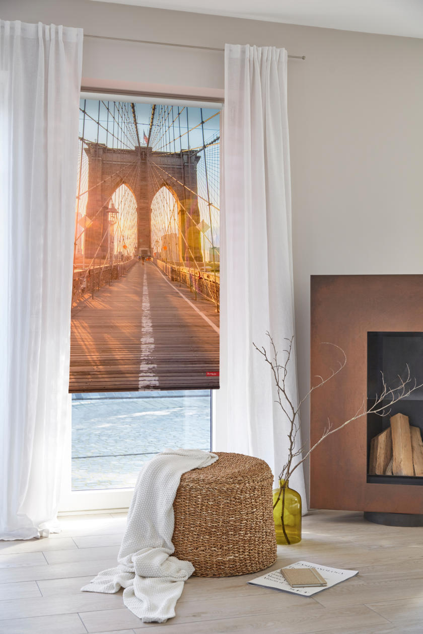 rollo klemmfix ohne bohren blickdicht brooklyn bridge orange lichblick shop. Black Bedroom Furniture Sets. Home Design Ideas