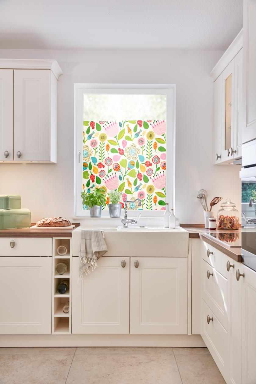 Fensterfolie selbstklebend sichtschutz blumen bunt lichblick shop - Fensterfolie mit motiv ...