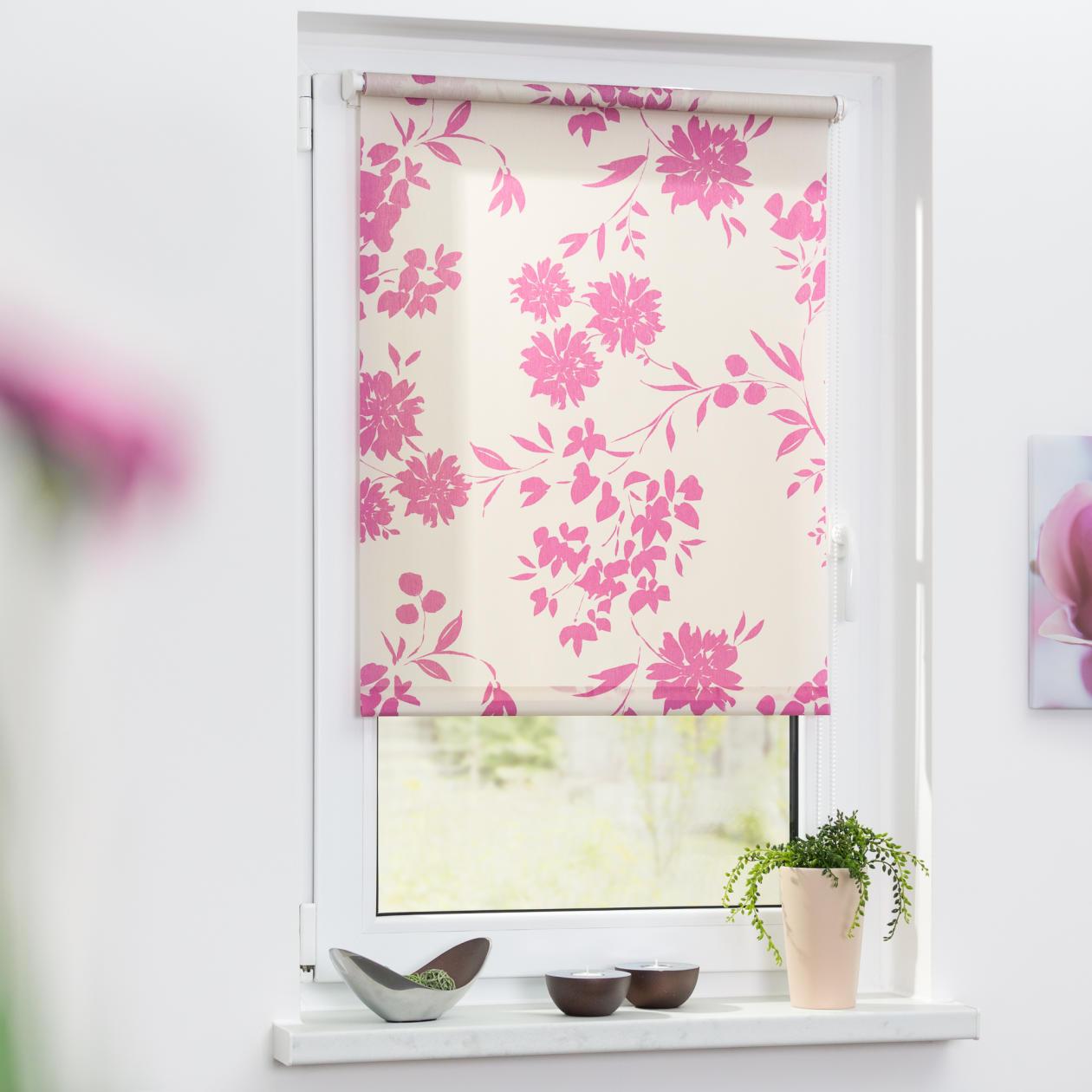 rollo klemmfix ohne bohren blickdicht vintage flowers lichblick shop. Black Bedroom Furniture Sets. Home Design Ideas