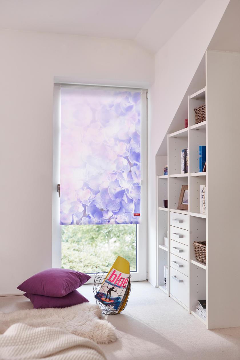 rollo klemmfix ohne bohren blickdicht hortensie lila lichblick shop. Black Bedroom Furniture Sets. Home Design Ideas