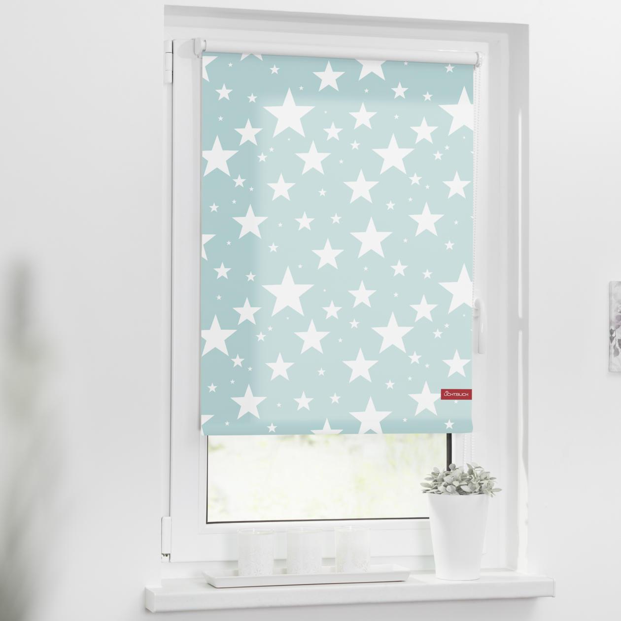 rollo klemmfix ohne bohren blickdicht sterne blau lichblick shop. Black Bedroom Furniture Sets. Home Design Ideas