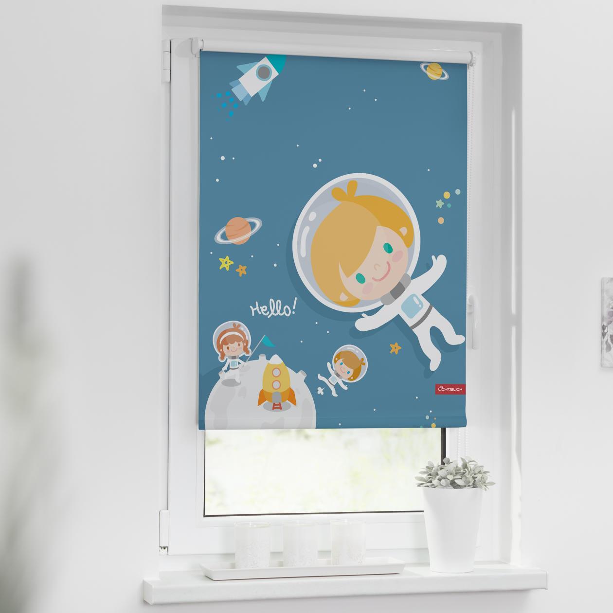 verdunkelungsrollo klemmfix ohne bohren astronaut blau lichblick shop. Black Bedroom Furniture Sets. Home Design Ideas