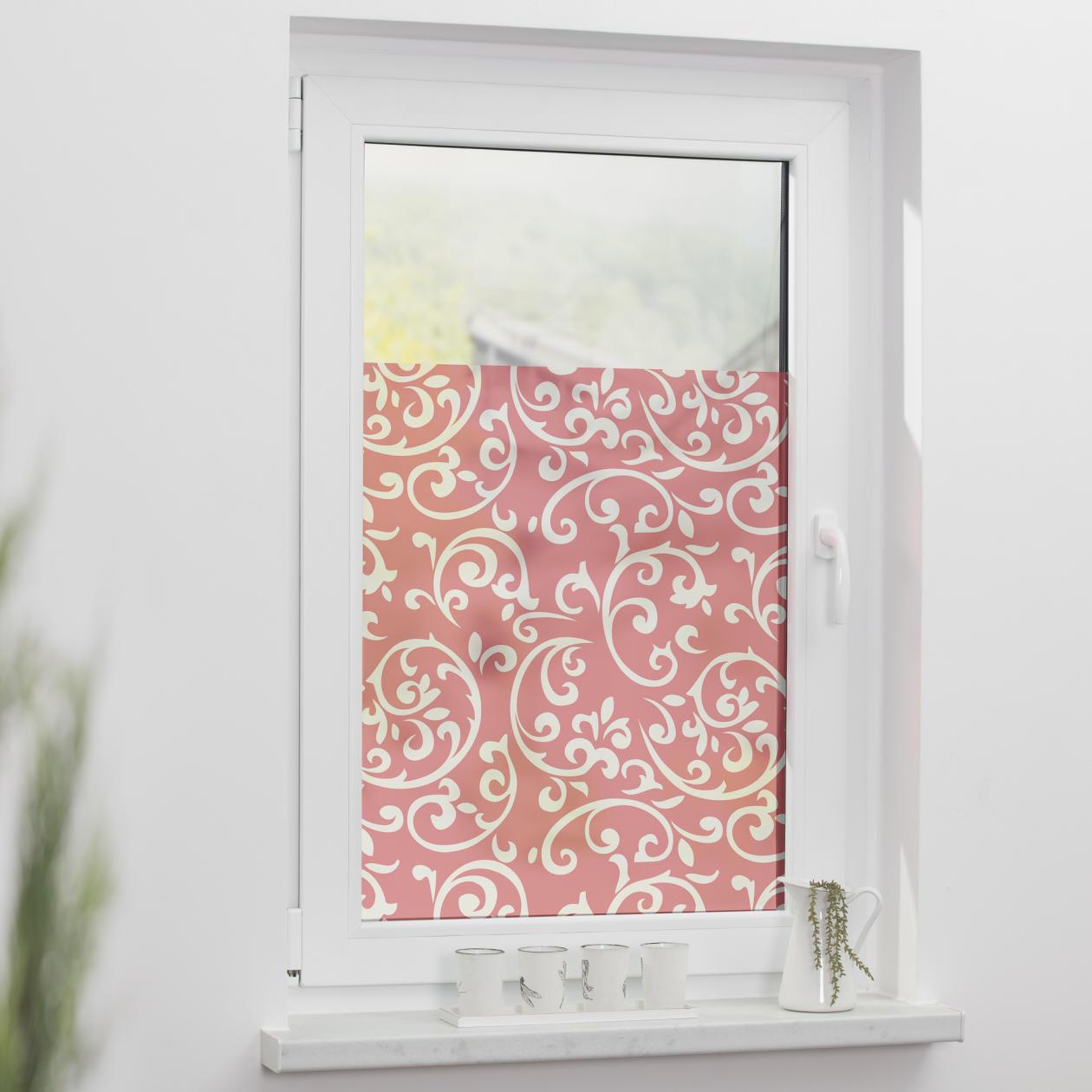 fensterfolie selbstklebend sichtschutz ornamente korall lichblick shop. Black Bedroom Furniture Sets. Home Design Ideas