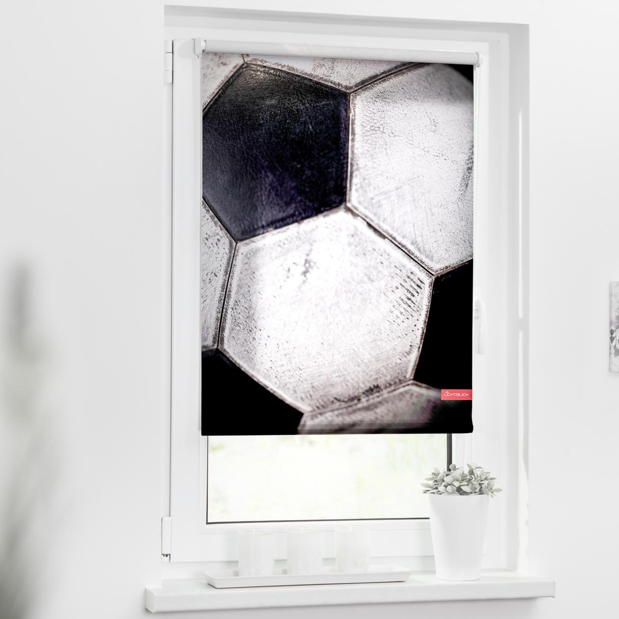 rollo klemmfix ohne bohren blickdicht retro fu ball schwarz wei lichblick shop. Black Bedroom Furniture Sets. Home Design Ideas