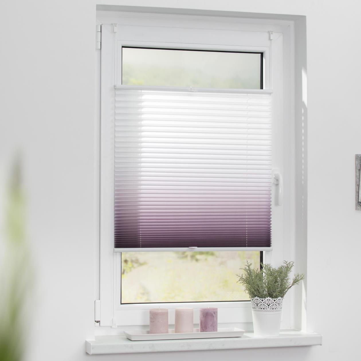 lichtblick plissee klemmfix ohne bohren verspannt farbverlauf faltrollo ebay. Black Bedroom Furniture Sets. Home Design Ideas
