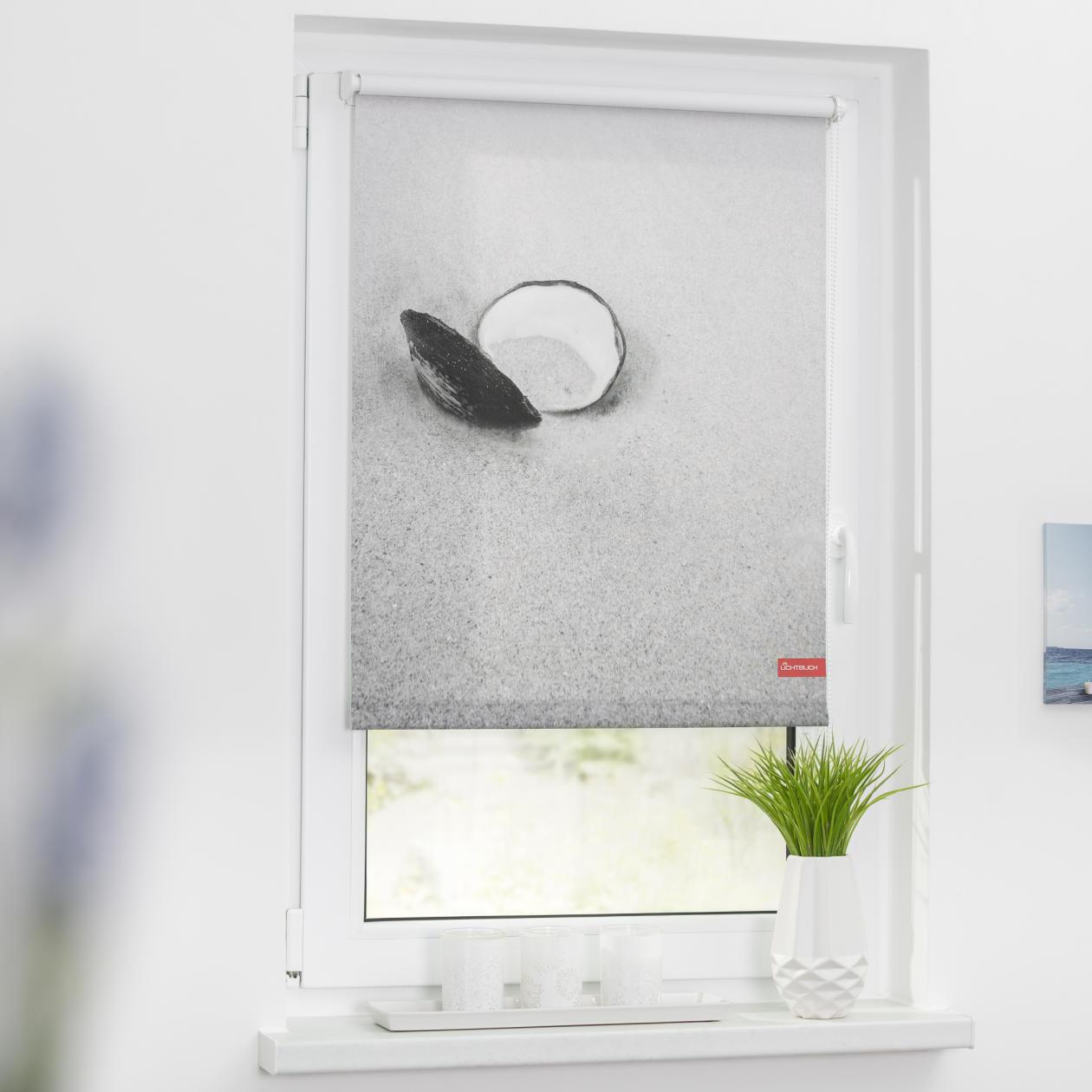 rollo klemmfix ohne bohren blickdicht muschel schwarz wei lichblick shop. Black Bedroom Furniture Sets. Home Design Ideas