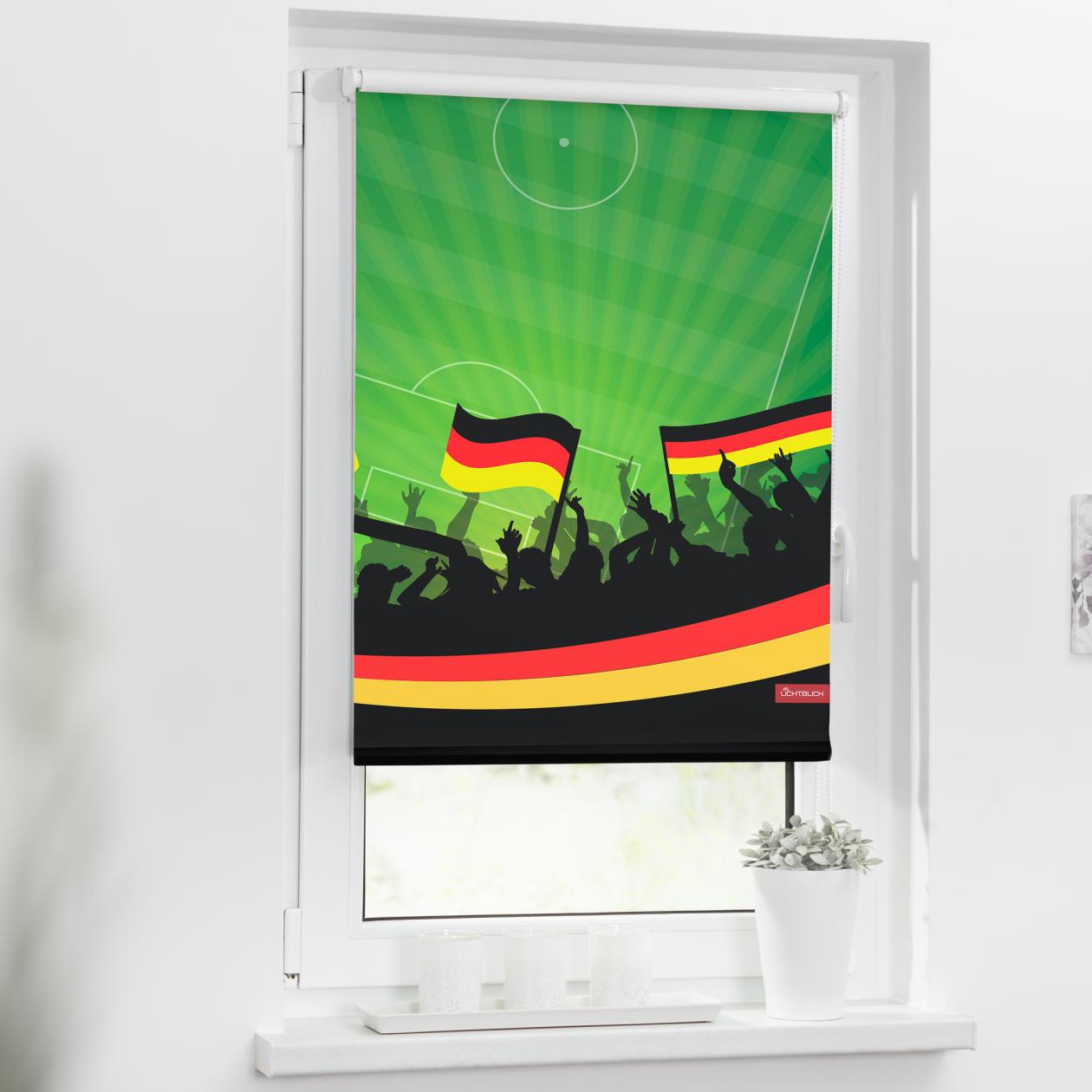verdunkelungsrollo klemmfix ohne bohren deutschlandfahne gr n lichblick shop. Black Bedroom Furniture Sets. Home Design Ideas