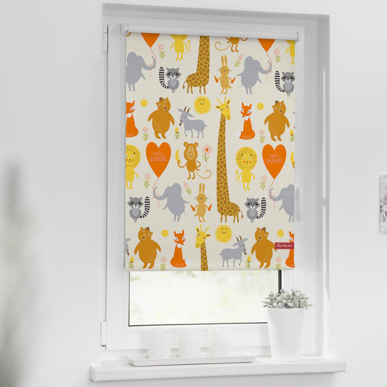 verdunkelungsrollo klemmfix ohne bohren cute animals gelb lichblick shop. Black Bedroom Furniture Sets. Home Design Ideas
