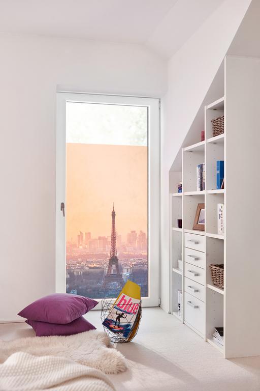 fensterfolie selbstklebend sichtschutz eiffelturm orange lichblick shop. Black Bedroom Furniture Sets. Home Design Ideas