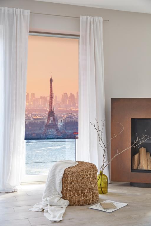 rollo klemmfix ohne bohren blickdicht eiffelturm orange lichblick shop. Black Bedroom Furniture Sets. Home Design Ideas